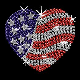 Shining Iron on America Heart Rhinestone Pattern