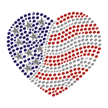 Shining Iron on America Heart Rhinestone Pattern