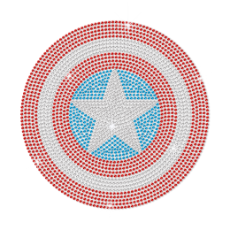 Bling Crystal Iron on Captain America Shield Transfer