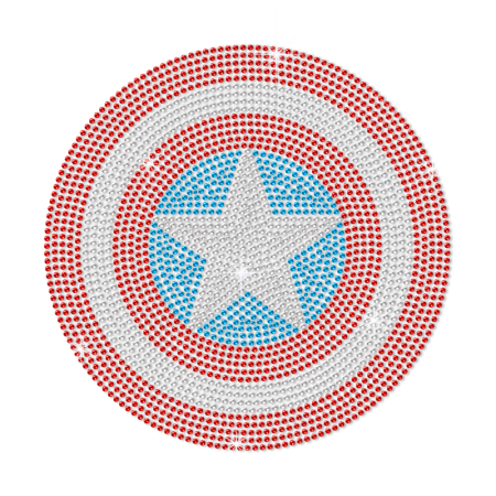 Bling Crystal Iron on Captain America Shield Transfer