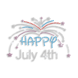 Happy July 4th & Fireworks Iron-on Rhinestone Transfer