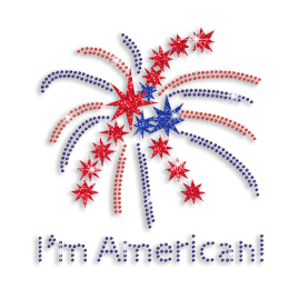 I'm American & Celebration Fireworks Iron-on Rhinestone Transfer