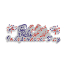 Independence Day Fireworks & Flags Iron-on Rhinestone Transfer