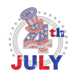 July 4th Celebration Heat Press Rhinestone Transfer Design