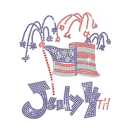 July 4th Party Iron on Rhinestone Transfer