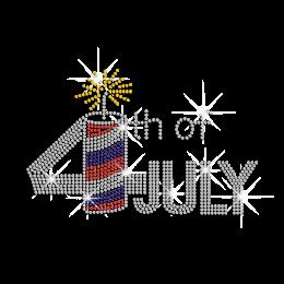 Sparkling Crystal 4th of July Fireworks Iron-on Rhinestone Transfer
