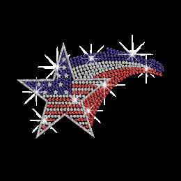 Shining America Star Hotfix Rhinestone Transfer