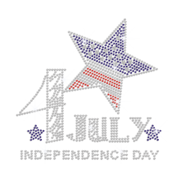 July 4th Independence Day with Sparkling Stars Iron on Rhinestone Transfer