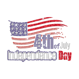 Royal Star Flag of Independence Day Iron on Rhinestone Glitter Transfer