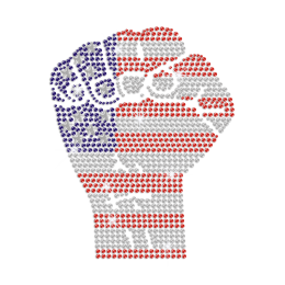 Clench Your Fist to Make the United States Iron on Rhinestone Transfer