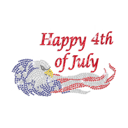 Bling Eagle Glittering Happy 4th of July Iron on Rhinestone Transfer Decal