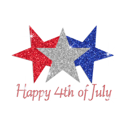Glittering White Blue Red Stars Happy 4th of July Iron on Rhinestone Transfer Motif
