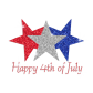 Glittering White Blue Red Stars Happy 4th of July Iron on Rhinestone Transfer Motif