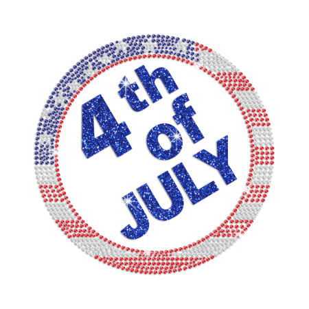 Glittering 4th of July Embedded in A Disc Iron on Rhinestone Transfer Decal