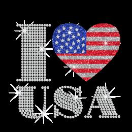 Glittering Heart with American Flag Design Iron on Rhinestone Transfer Decal