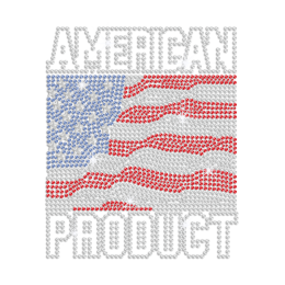 American Product with Bling American Flag Iron on Rhinestone Transfer Motif