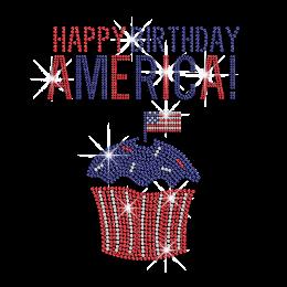 Happy Birthday America Bling Cupcake Iron on Rhinestone Transfer Decal