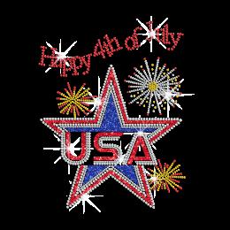 Happy 4th of July with A Glittering Star Iron on Rhinestone Transfer Motif