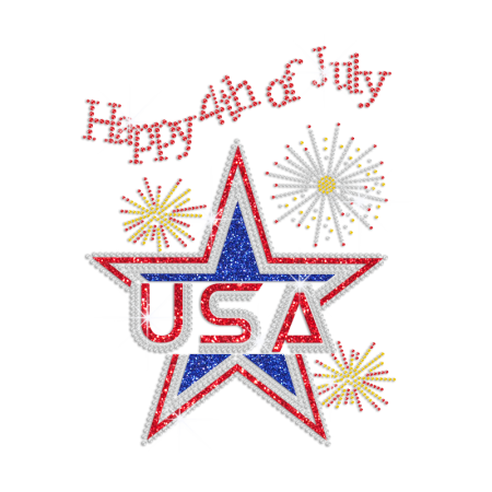 Happy 4th of July with A Glittering Star Iron on Rhinestone Transfer Motif