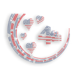 4th of July with American Flag Hearts Iron on Rhinestone Transfer Decal