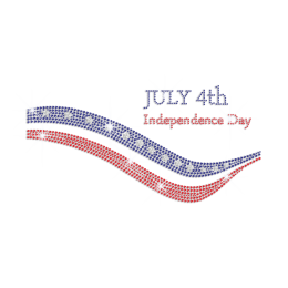 July 4th Independence Day Iron on Rhinestone Transfer Motif