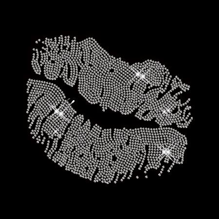 Crystal Rhinestone Kiss Lip Hot Fix Pattern
