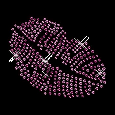 Rhinestud Purple Kiss Lip Iron on Transfer