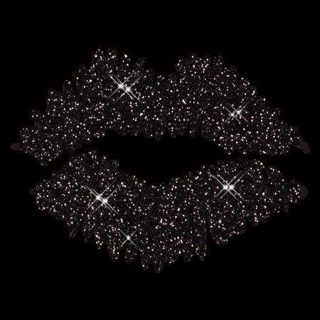Black Glitter Kiss Lip Iron on Transfer Design