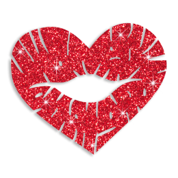 Custom Best Sparkle Heart Shape Red Lips Diamante Iron on Transfer Design