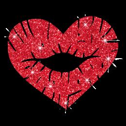 Custom Best Sparkle Heart Shape Red Lips Diamante Iron on Transfer Design