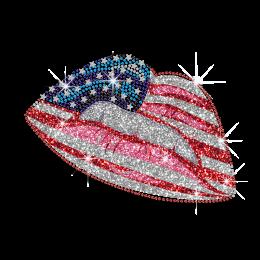 USA Flag Motif Lips Hotfix Diamante Transfer