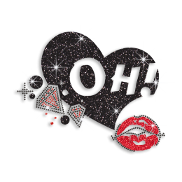 OH! Kiss & Heart & Diamonds Iron-on Rhinestone Transfer