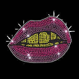 Bright Lips Kiss Iron-on Rhinestone Transfer