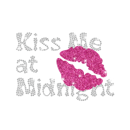 Magic Show Kiss Me At Midnight Glitter Rhinestone Iron-on Transfer Pattern