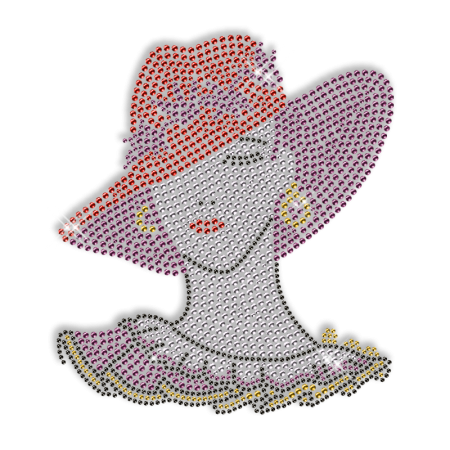 Hat Lady Iron on Crystal Pattern Motif