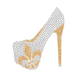 Hot Shinning Rhinestone Fleur De Lis Pattern High Heels Iron on Transfer Design for Clothes