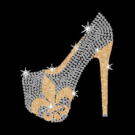 Hot Shinning Rhinestone Fleur De Lis Pattern High Heels Iron on Transfer Design for Clothes