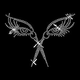 Cool Sparkling Rhinestone Beauty Eyes and Scissors Iron on Transfer Motfi for Garments