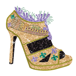 Best Sparkle Rhinestone 2013 Fleur De Lis Pattern High Heels Iron on Transfer Motif for Clothes