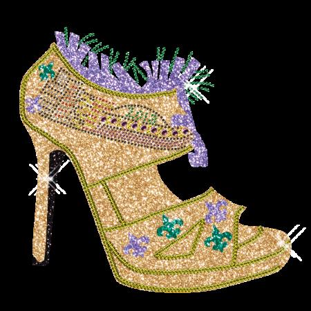Custom Best Shinning Rhinestone 2013 Yellow High Heels Iron on Transfer Design for Clothes