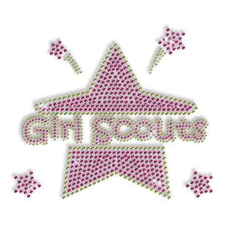 Shining Rhinestud Girl Scouts Iron on Transfer Design for Garments