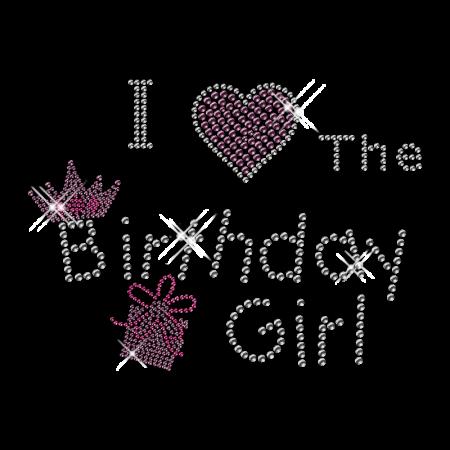 Cute Shinning Rhinestone I Love the Birthday Girl Iron on Transfer Motif for Clothes