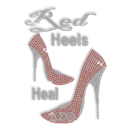 Custom Shinning Diamante Red Heels Heal High Heels Iron on Transfer Motif for Clothes