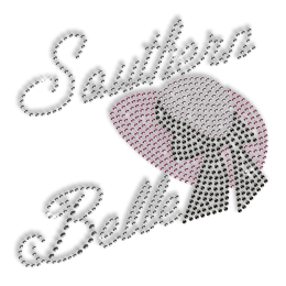 Custom Best Sparkle Rhinestone Southern Belle Hat Iron on Transfer Motif for Clothes