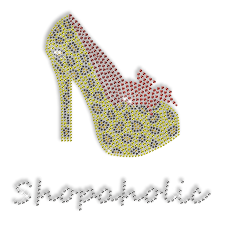 Custom Best Sparkling Shopaholic High Heels Iron on Transfer Motif for Garments