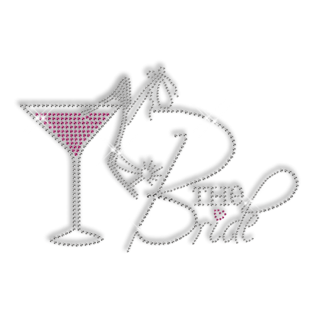Custom Sparkling Rhinestone the Bride High Heels and Drinks Iron on Transfer Design for Clothes