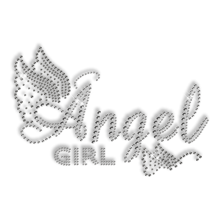 Custom Shinning Diamante Angel Girl and Butterfly Iron on Transfer Design for Shirts