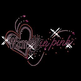 Custom Cute Shinning Diamante Women in Pink and Heart Iron on Transfer Motif for Shirts
