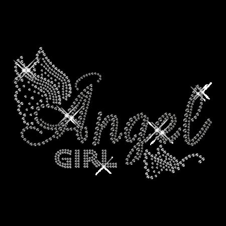 Custom Best Shinning Korean Rhinestone Angel Girl Butterfly Iron on Transfer Design for Clothes