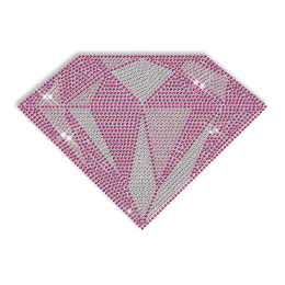 Big Custom Sparkling Rhinestud Pink Diamond Iron on Transfer Design for Shirts